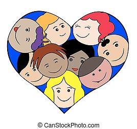 heart-love, conc, bambini, facce
