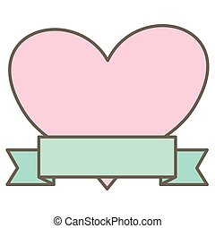 heart love decorative with ribbon frame