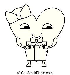 heart love female with gift kawaii character