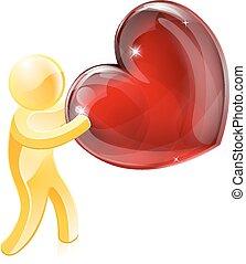 Heart love gold person