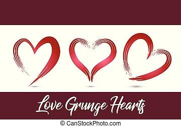 Heart love grunge set icons