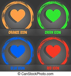 heart, love icon. Fashionable modern style. In the orange, green, blue, red design. Vector