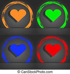 Heart, Love icon symbol. Fashionable modern style. In the orange, green, blue, green design.