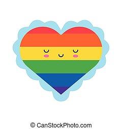 heart love kawaii character flat style icon
