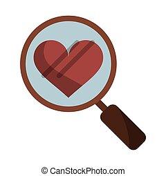 heart love loupe search icon