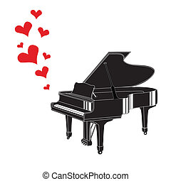 Heart love music piano playing a song for valentine day...