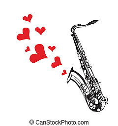 Heart love music saxophone playing a song for valentine day...