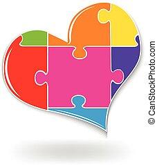Heart love puzzle logo