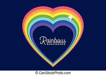 heart love rainbow with star background design