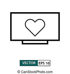Heart , love symbol in television icon. Outline style. Vector illustration EPS 10