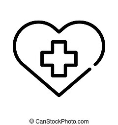 heart love symbol with cross line style icon