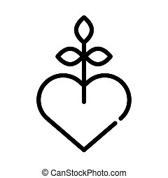 heart love symbol with plant line style icon