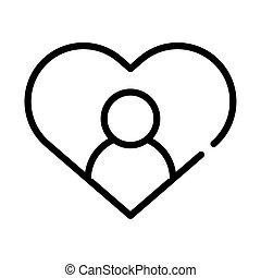heart love symbol with user line style icon