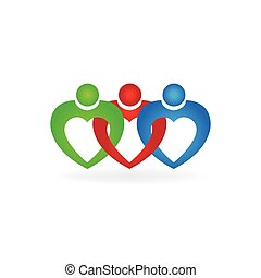Heart love teamwork united people business logo