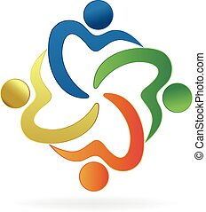 Heart love unity people logo