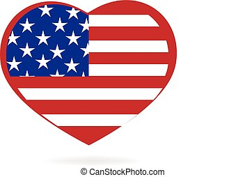 Heart love USA flag logo
