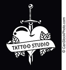 heart love with sword tattoo studio graphic