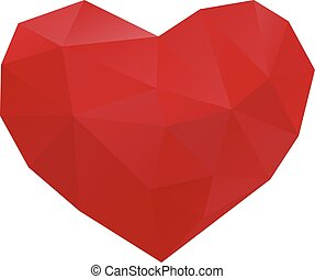 heart low poly - low poly heart icon isolated on white ...