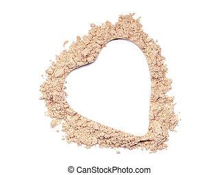 Heart lower of a broken make up powder
