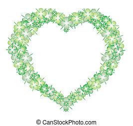Heart lucky four leaf clover