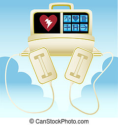 heart machine image isolated on a blue sky background.