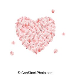 Heart made from pink rose petal