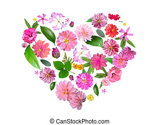 Heart Made from Summer Pink Flowers and Green Leaves Isolated on