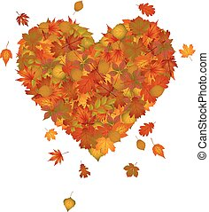 Heart made of autumn leaves
