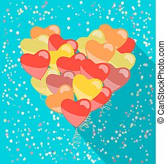 heart made of balloons in retro style