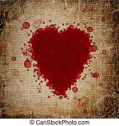 heart made of blood drops of canvas