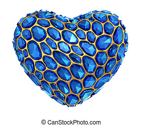Heart made of blue diamond isolated on white background. 3d