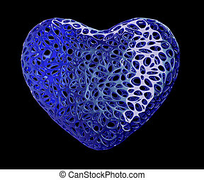 Heart made of blue plastic with abstract holes isolated on black background. 3d