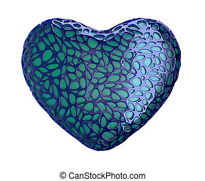 Heart made of blue plastic with abstract holes isolated on white background. 3d