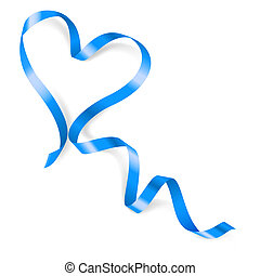 Heart made of blue ribbon