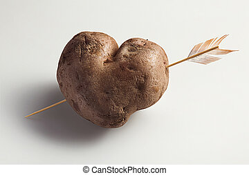 heart made of boiled potatoes