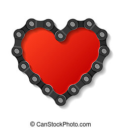 Heart made of chain vector illustration