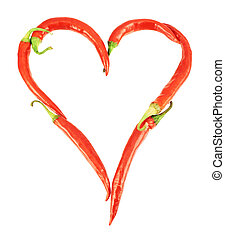 Heart made of chili peppers isolated