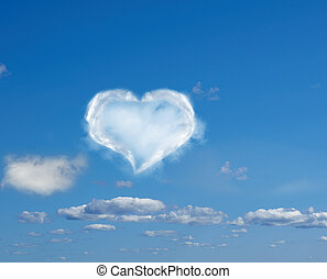 heart made of clouds against a blue sky