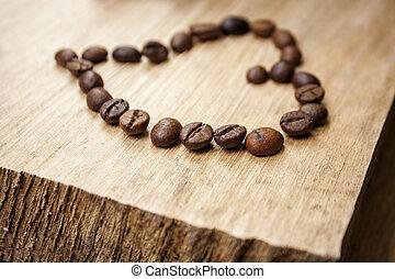 Heart made of coffee