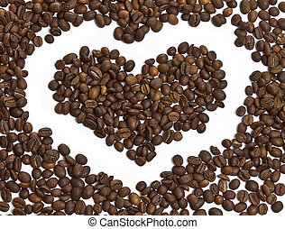 heart made of coffee beans isolated on white background