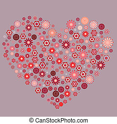 Heart made of different abstract stylized flowers