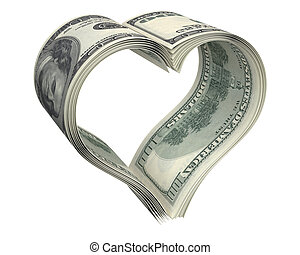 Heart made of few dollar papers, isolated on white...