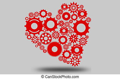 Heart made of gears  and cogwheels
