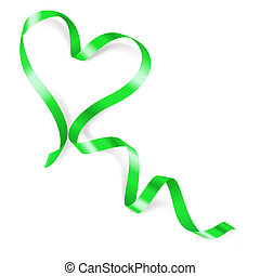 Heart made of green ribbon