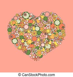 Heart Made Of Hand Drawn Flowers, Fruits, Leaves, Doodles