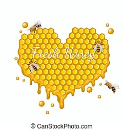 Heart made of honeycombs with bees. Vector graphics isolated on white background.