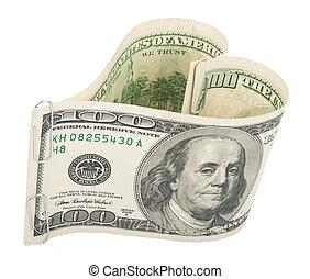 Heart made of hundred dollar bills