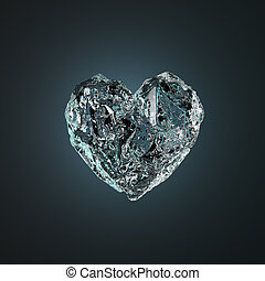 Heart Made Of Ice Isolated on Black Background. 3d Rendering...