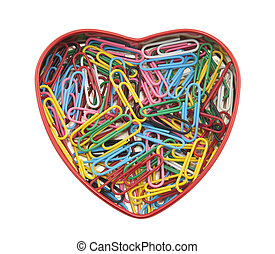 Heart made of paper clips with clipping path
