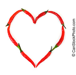 Heart made of pepper - Heart made of red hot chili pepper...